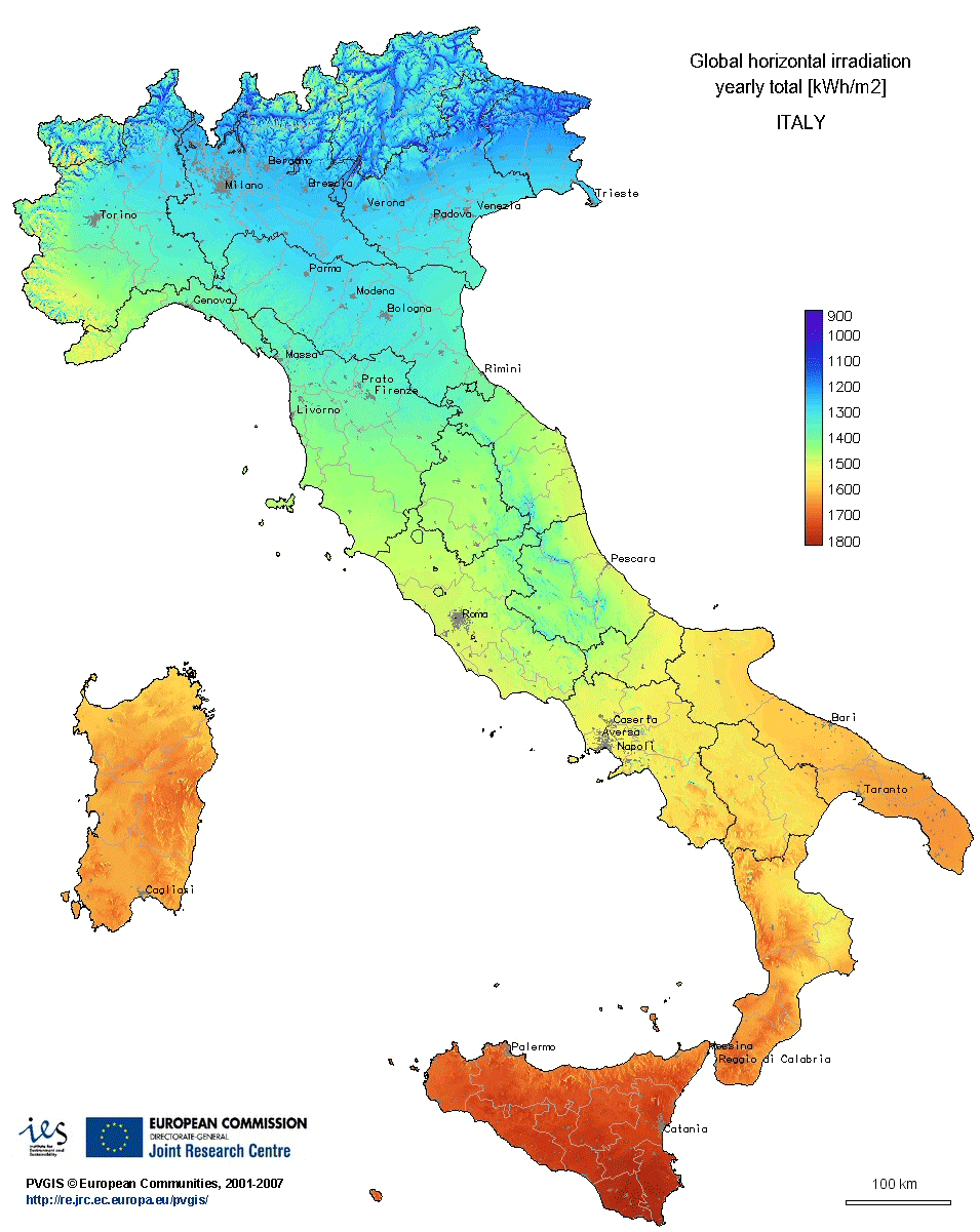 Pics Of Italy Map.Irradiation Map Italy Mapsof Net