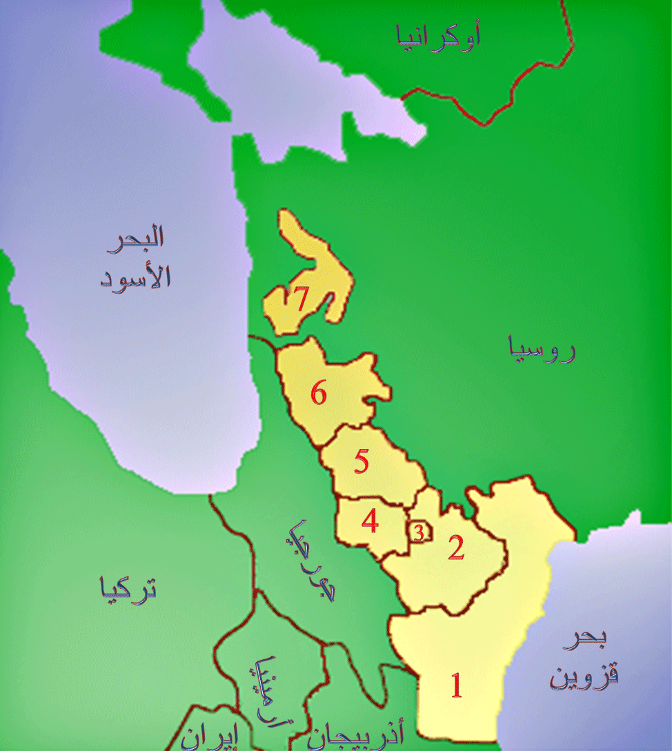 Islamic Republics In Russia Cropped large map