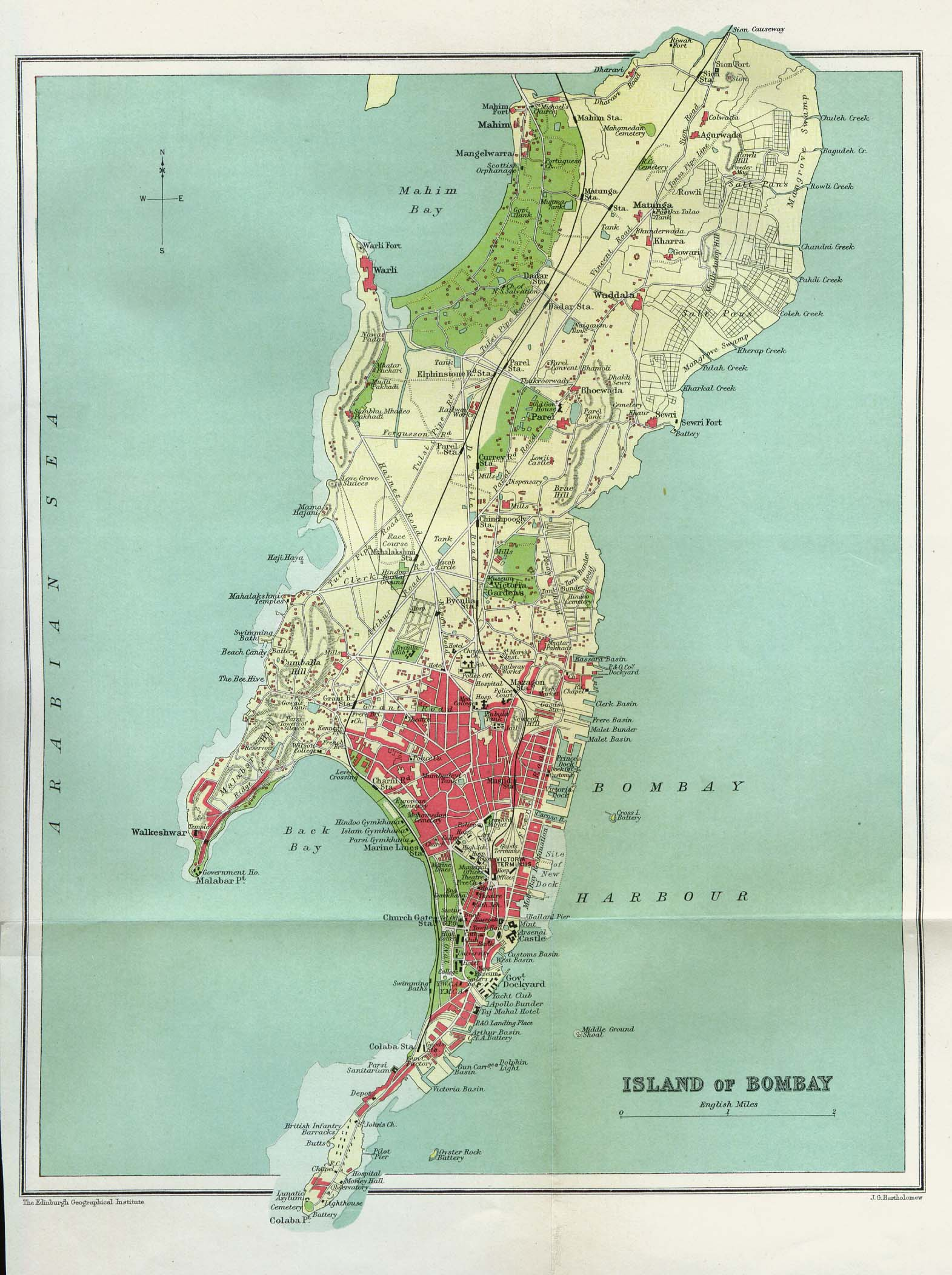 Island of Bombay 1909 large map