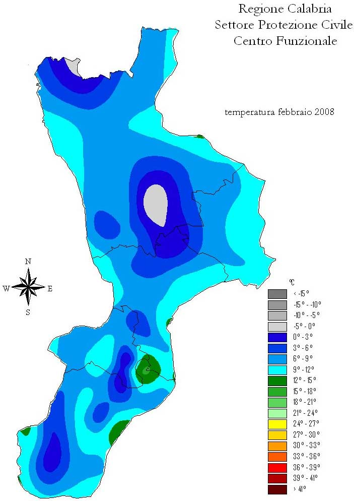 Isotherm Map of Calabria large map