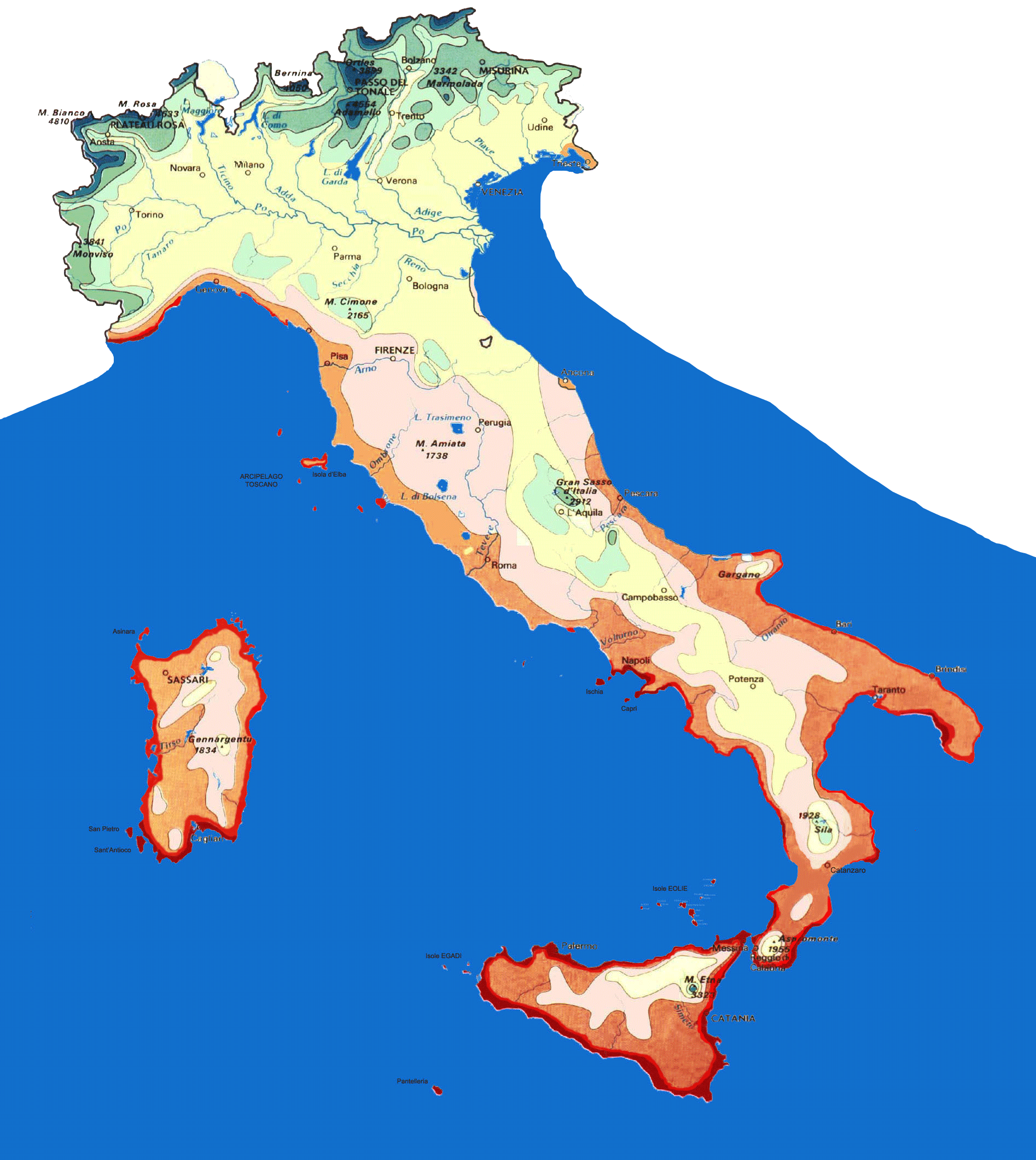 Isotherms Map Italy large map