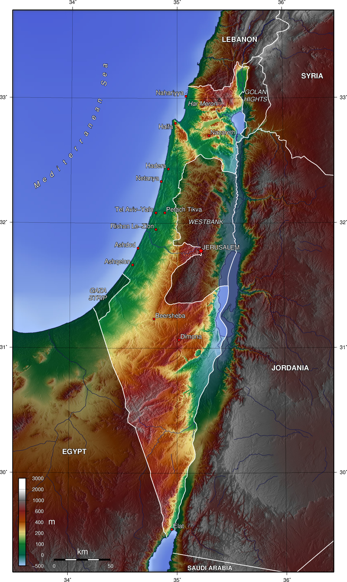 Israel Topographic Map large map