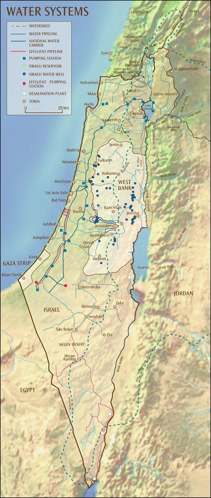 Israel Water Systems Map large map
