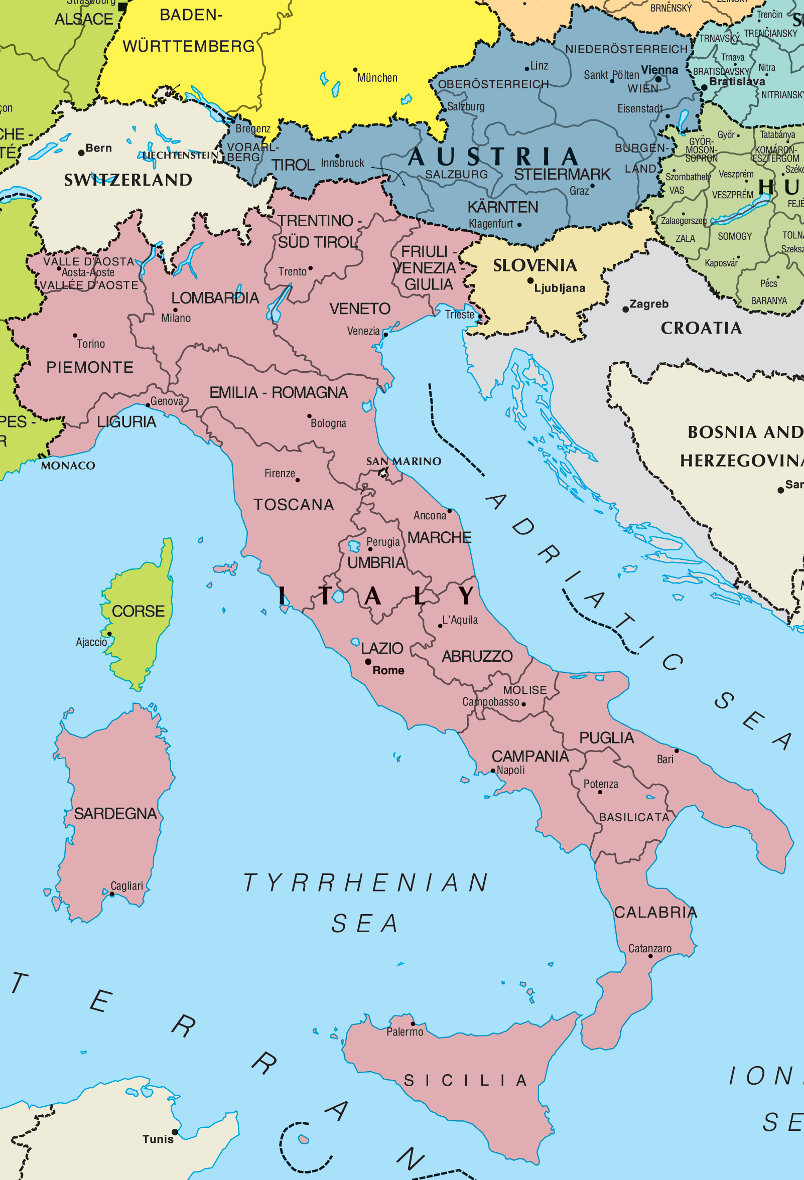 Detailed Map Of Italy In English.Italy And Austria Map Mapsof Net