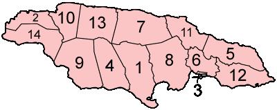 Jamaica Parishes Numbered large map