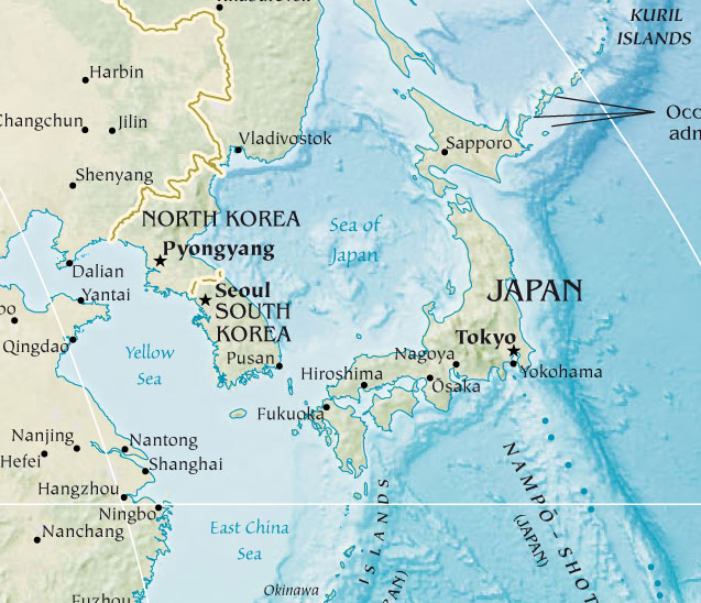 Japan And Korea large map