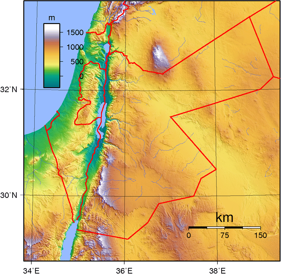 Jordan Topography large map