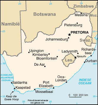 Kaart Suid Afrika large map