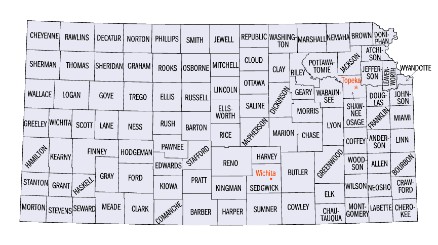 Kansas Counties Map Mapsof Net