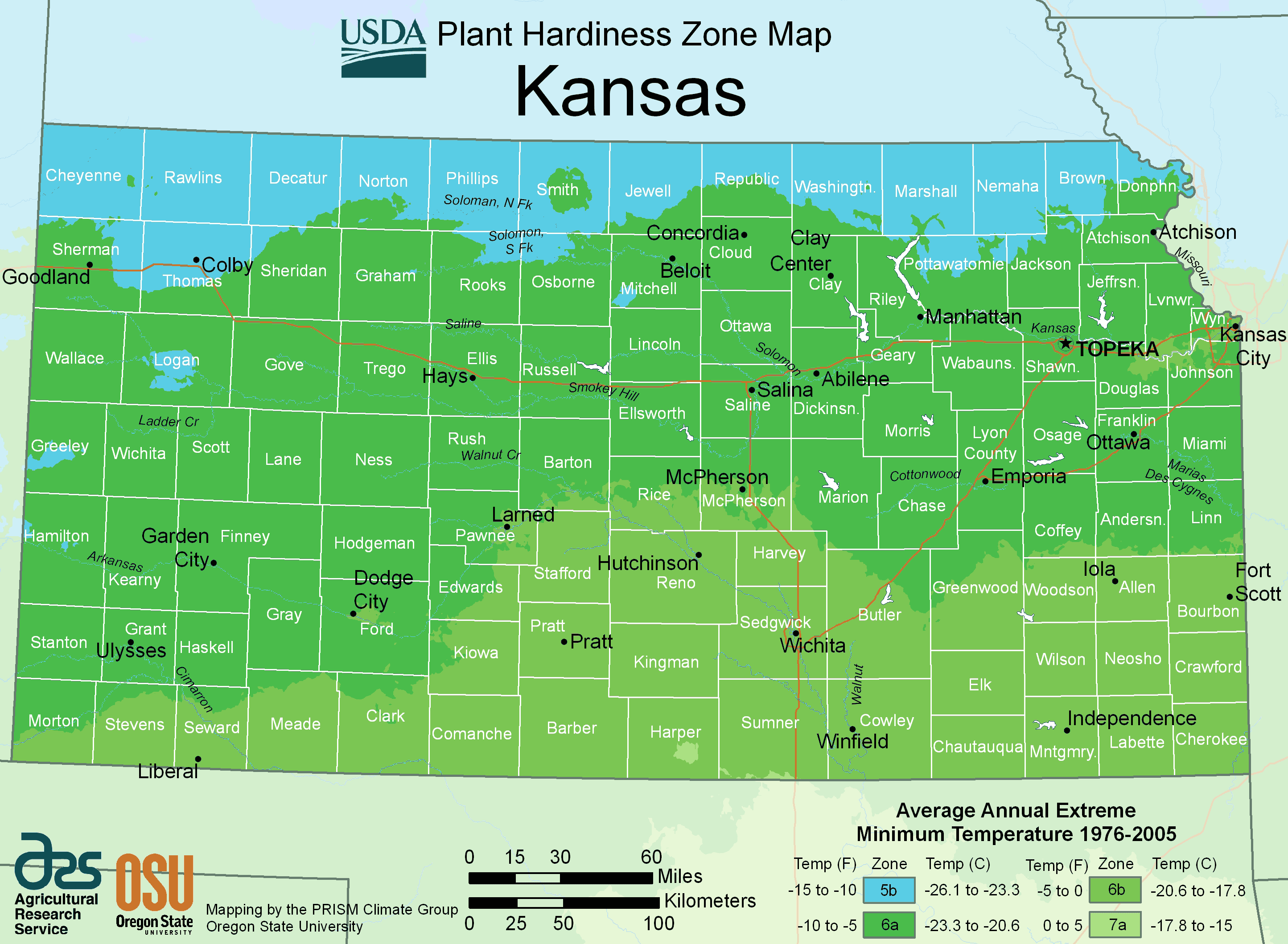 Kansas Plant Hardiness Zone Map large map