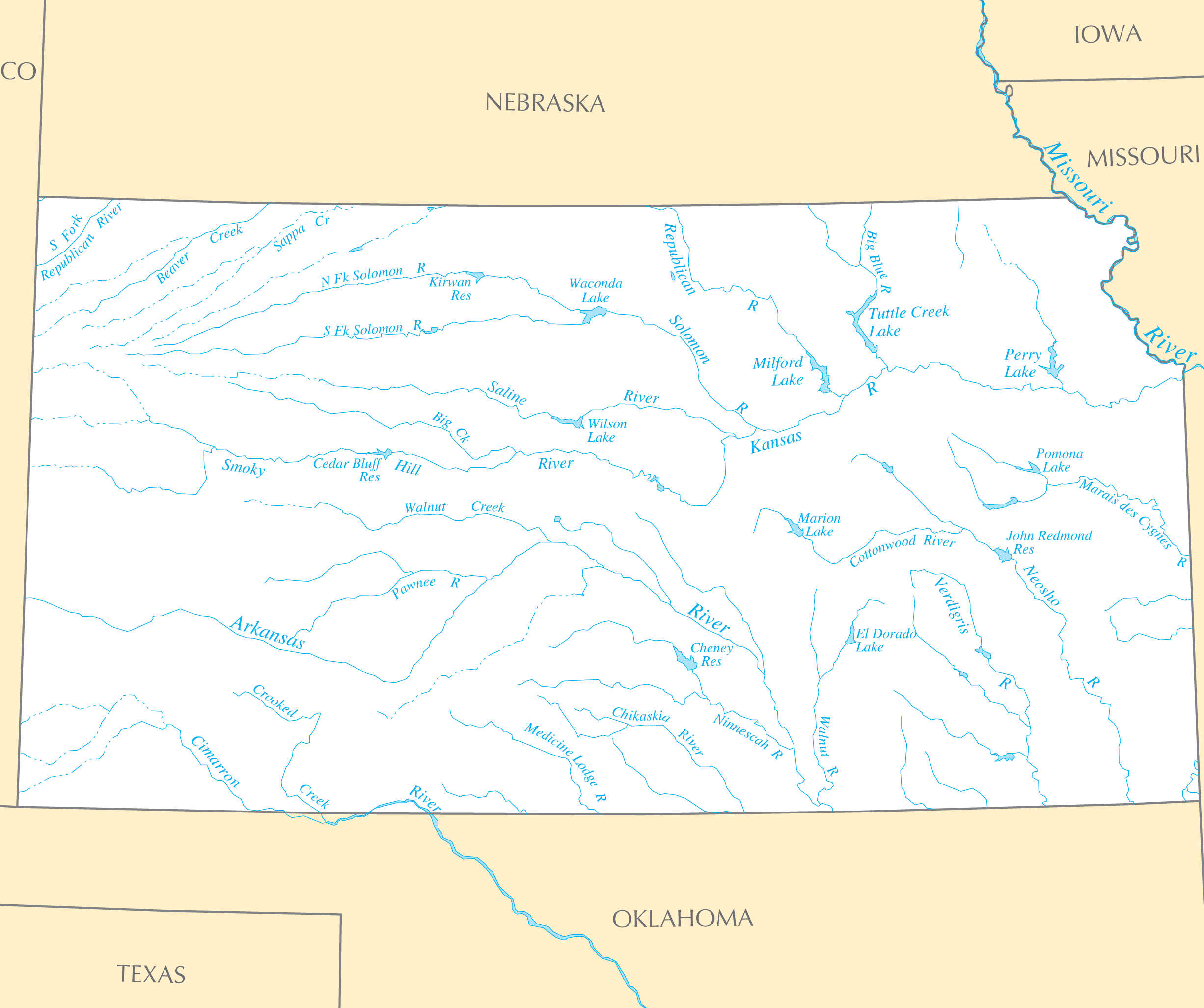 Kansas Rivers And Lakes Mapsofnet - Kansas rivers map