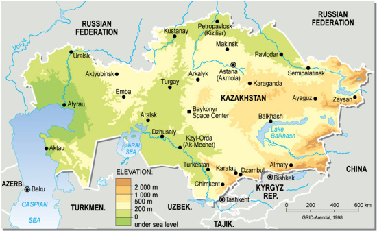 Kazakhstan Topographic Map large map