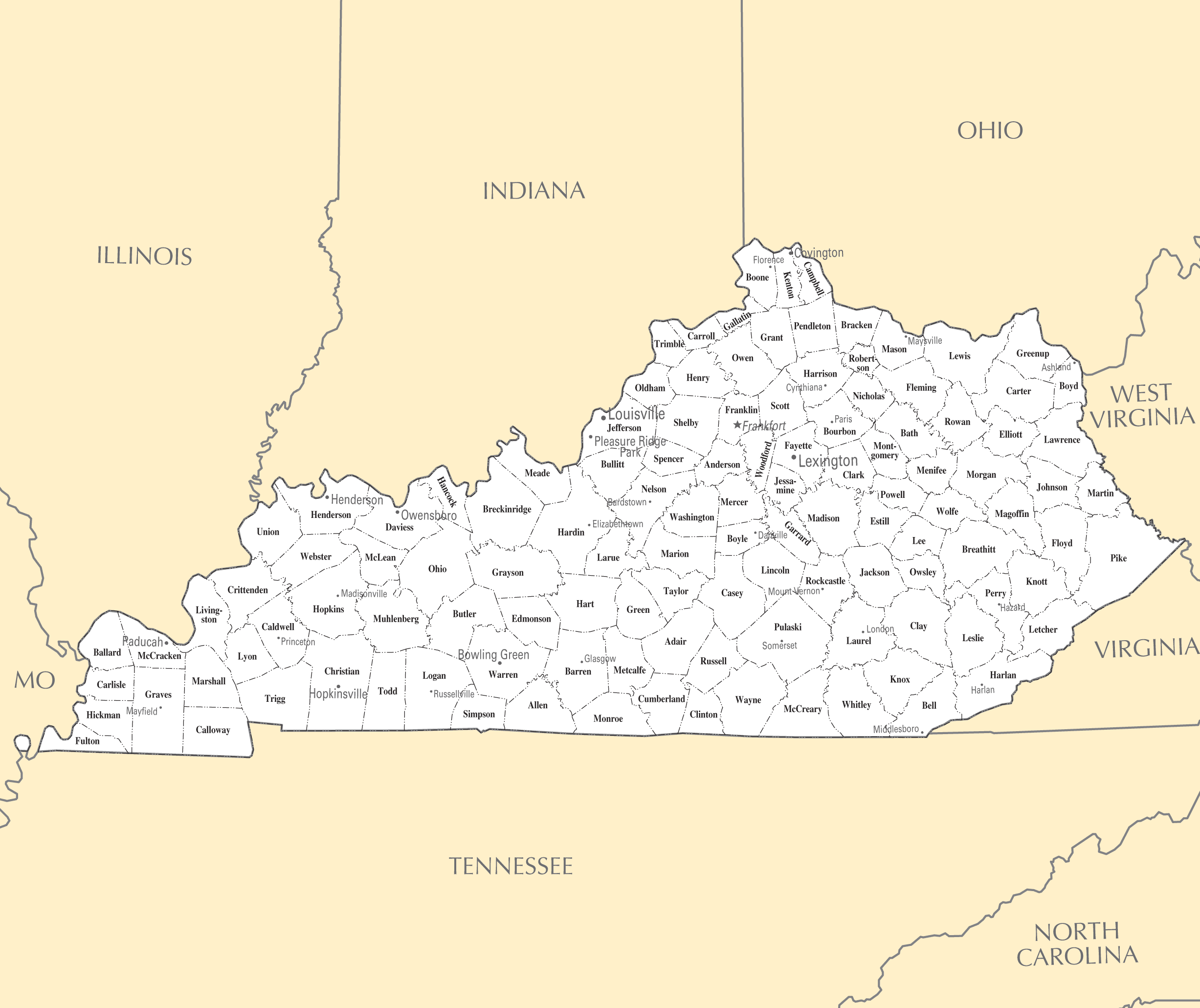 Kentucky Cities And Towns • Mapsof.net