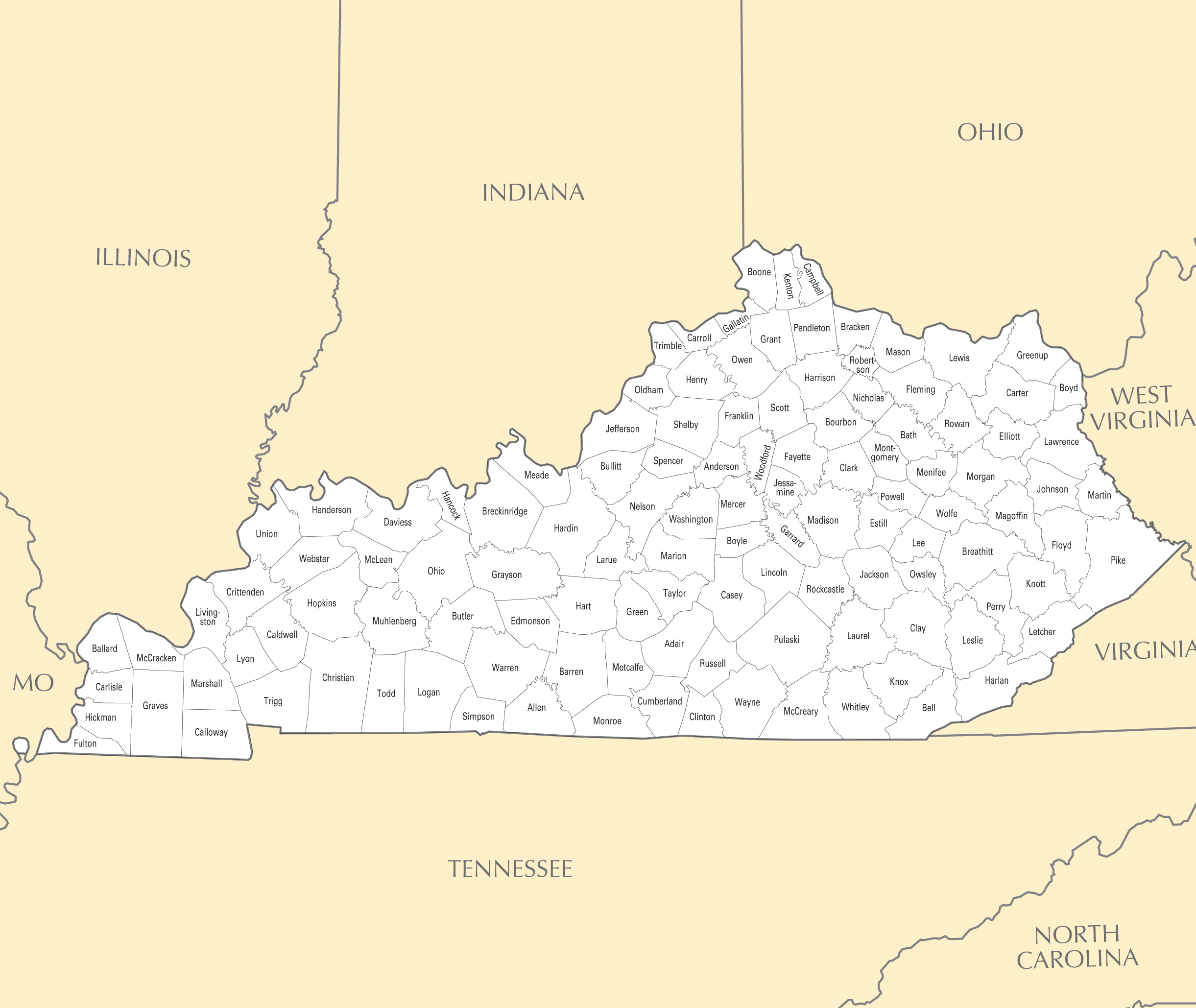 Kentucky County Map • Mapsof.net
