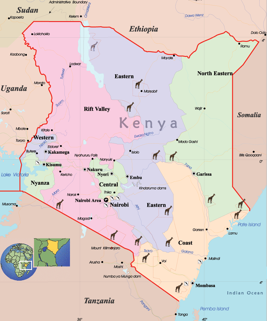 Kenya Political Map • Mapsof.net
