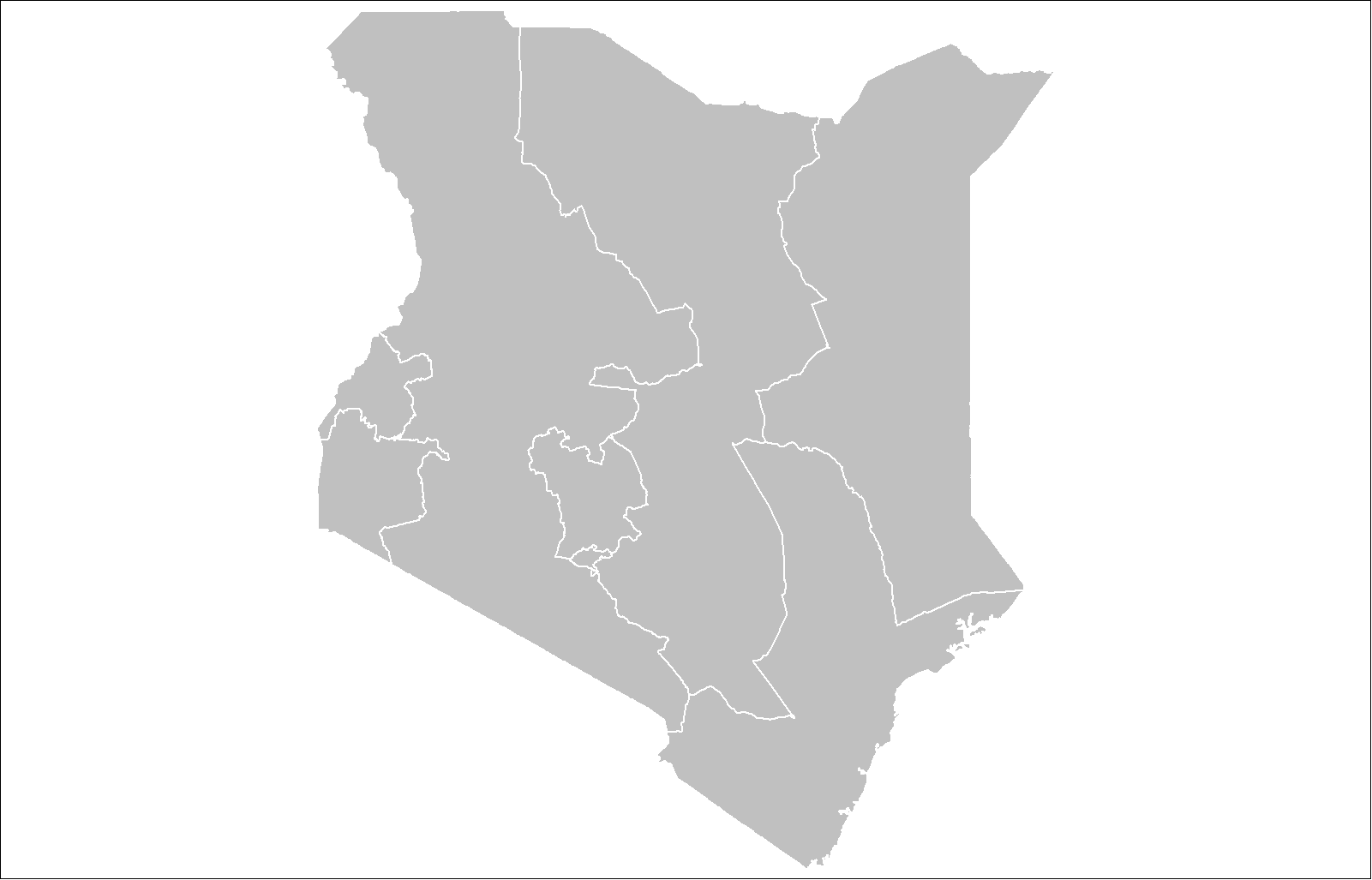 Kenya Provinces large map