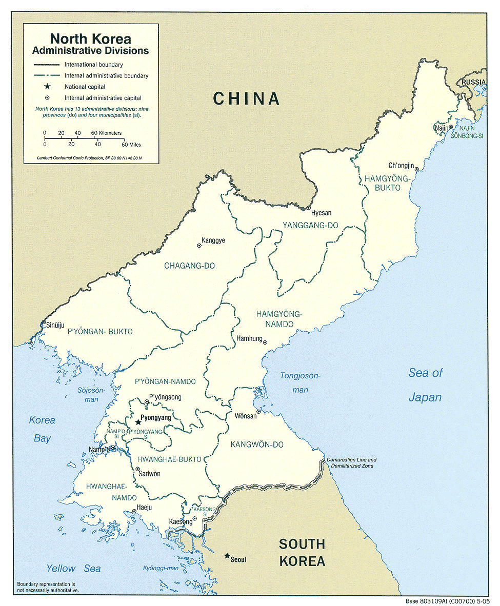 Korea North Admin 2005 large map