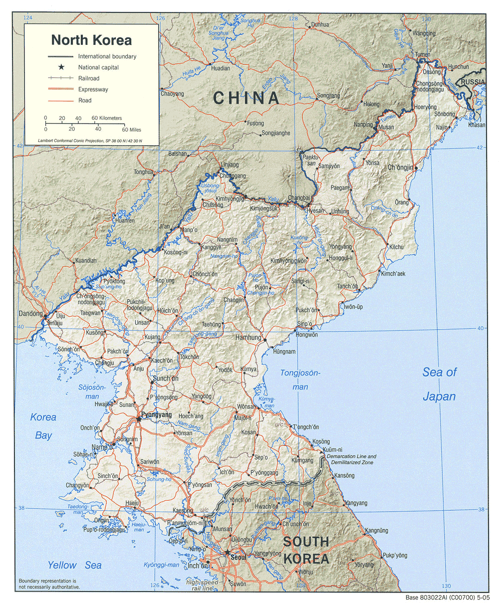 Korea North Shaded Relief large map