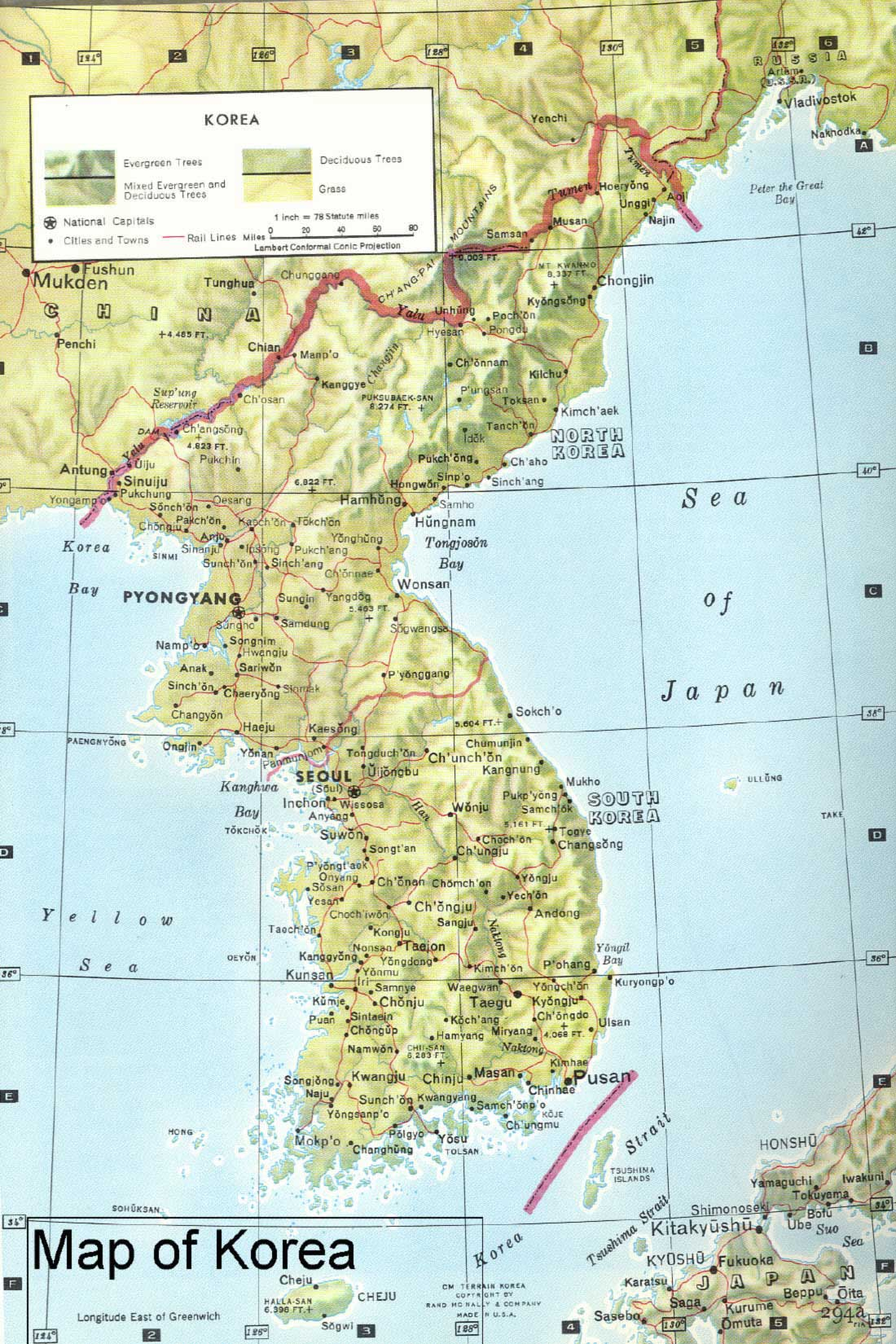 Korea Physical   Korea Maps