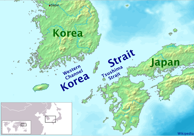 Korea Strait Mapsofnet - Japan map korea