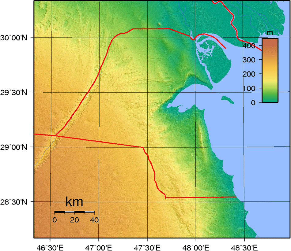 Kuwait Topography large map