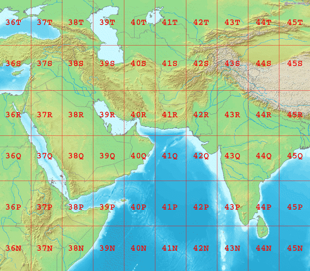 La2 India Utm Zones large map