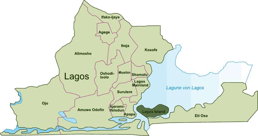 Lagos Island Map large map