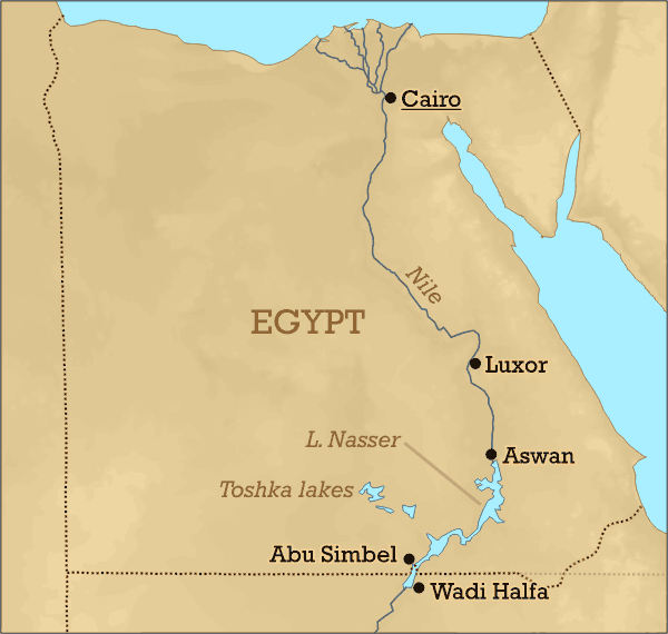 Lake Nasser Location large map