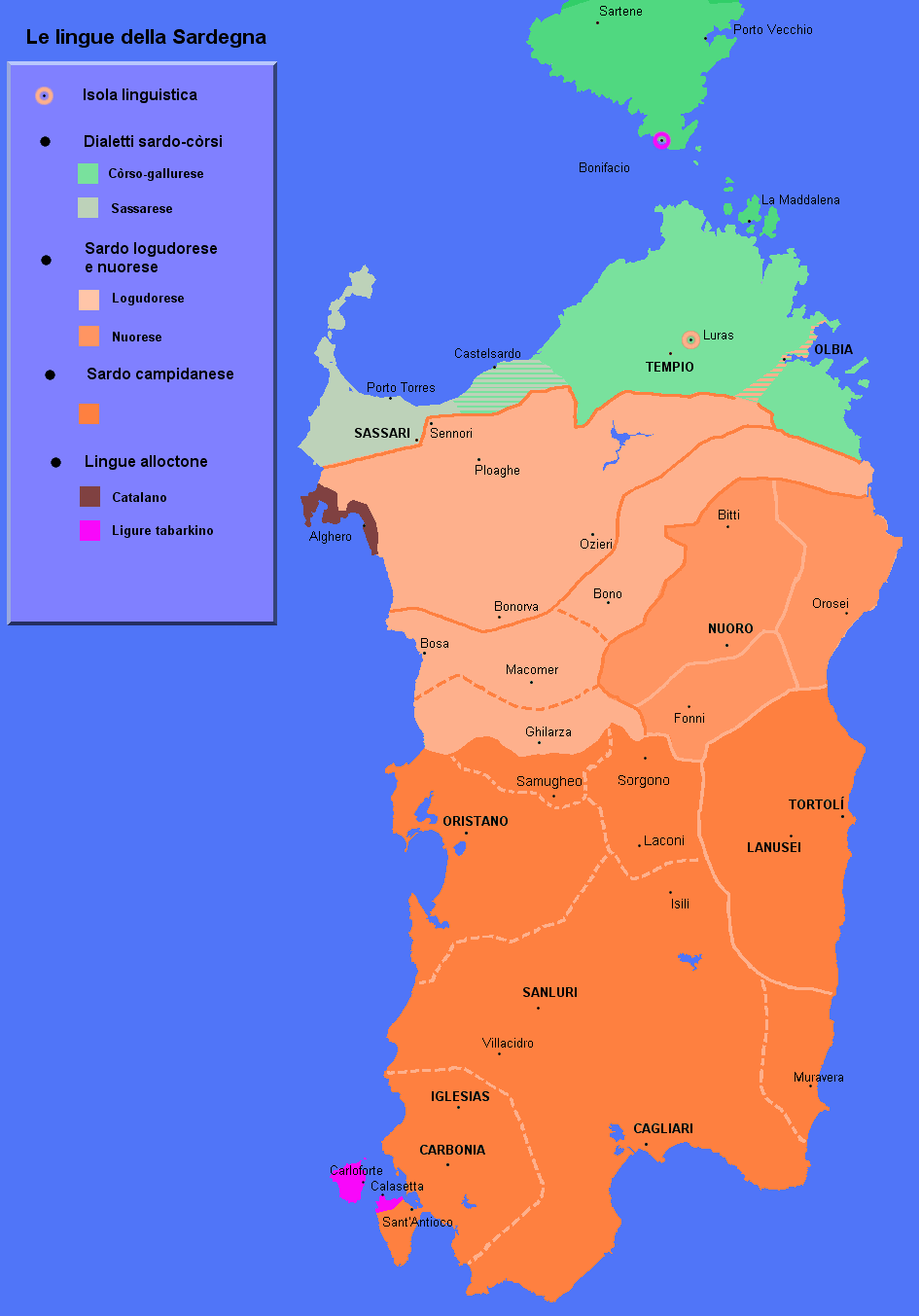 Languages Map of Sardinia large map