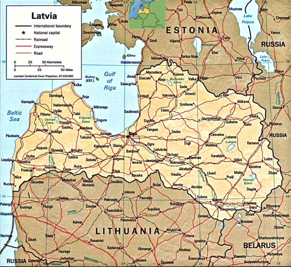 Latvia Physical Map large map