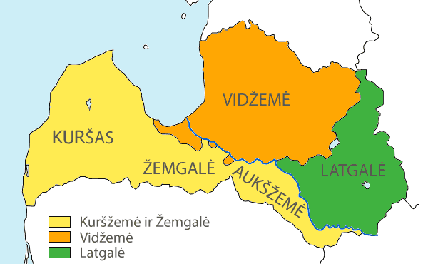 Latvian Regions And Latvians (lt) large map