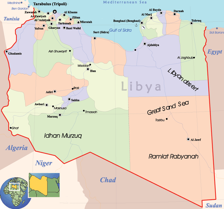 Libya Political Map Mapsofnet