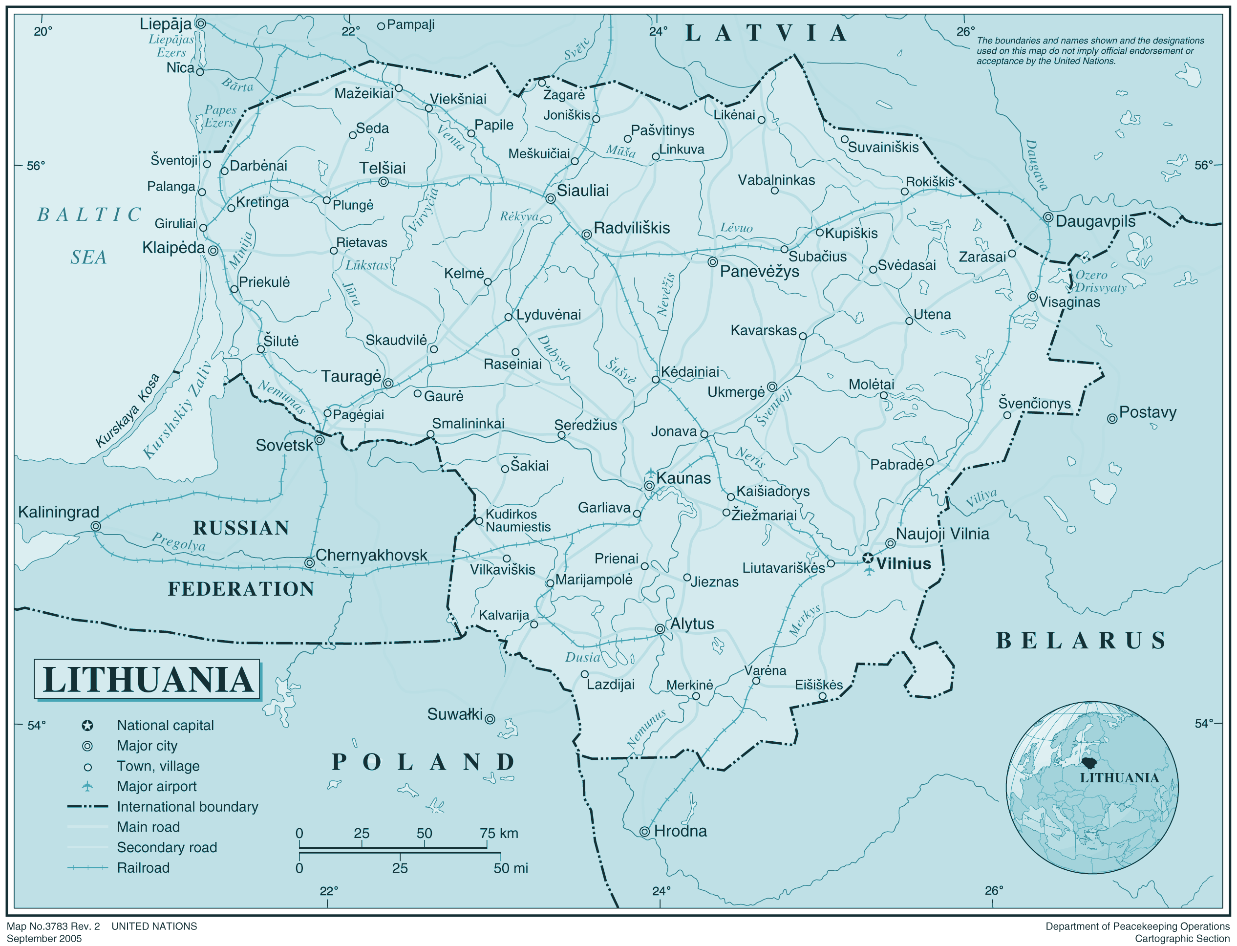 Lithuania large map