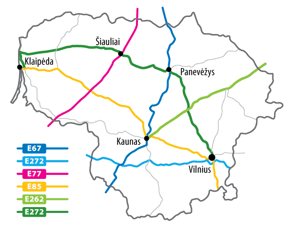 Lithuania Roads (e) large map