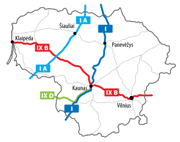 Lithuania Roads (ten) large map