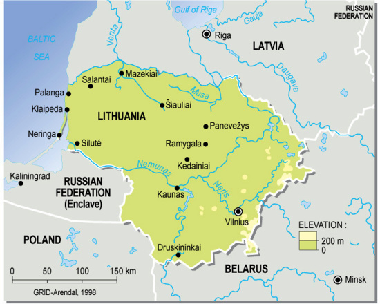 Lithuania Topographic Map large map