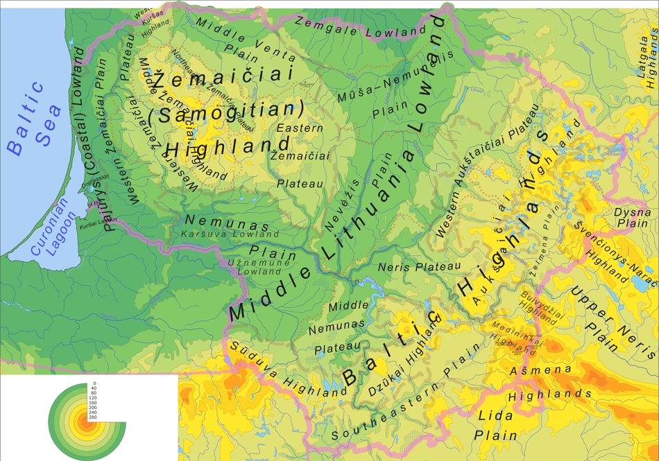 Lithuaniaphysicalmap En large map