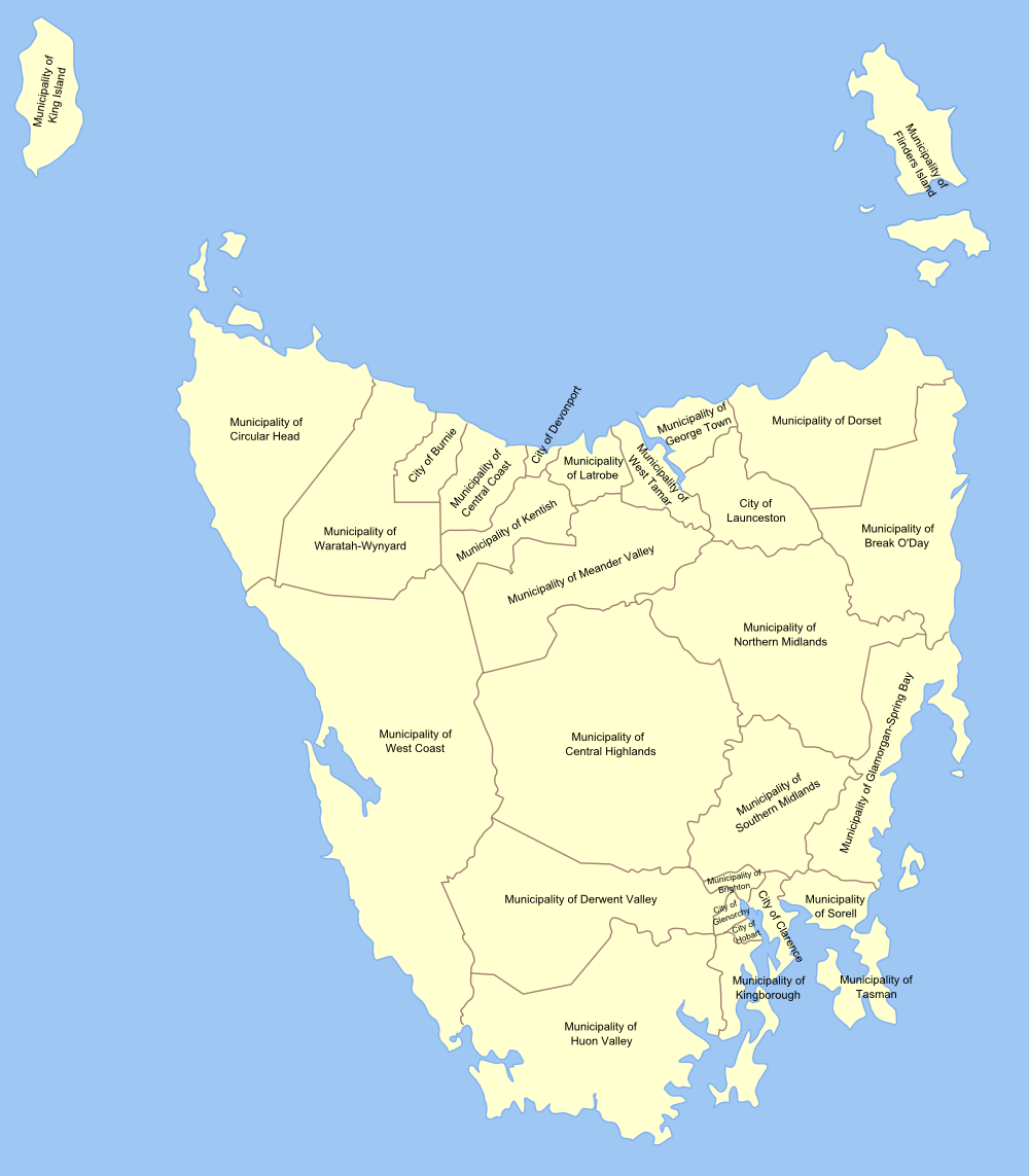 Local Government Map of Tasmania large map