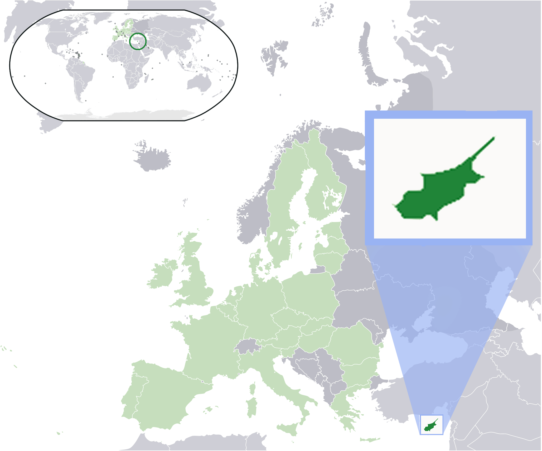 Location Cyprus In Eu large map