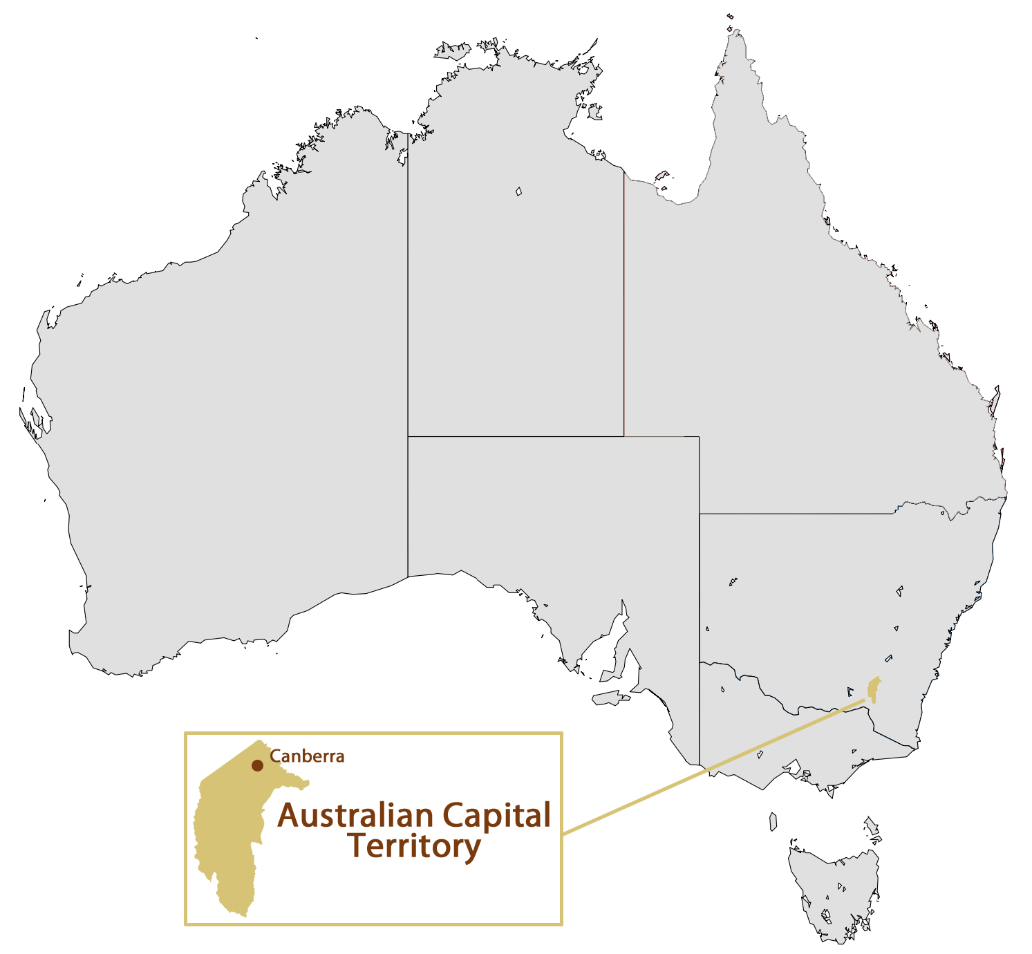 Location Map of Canberra large map