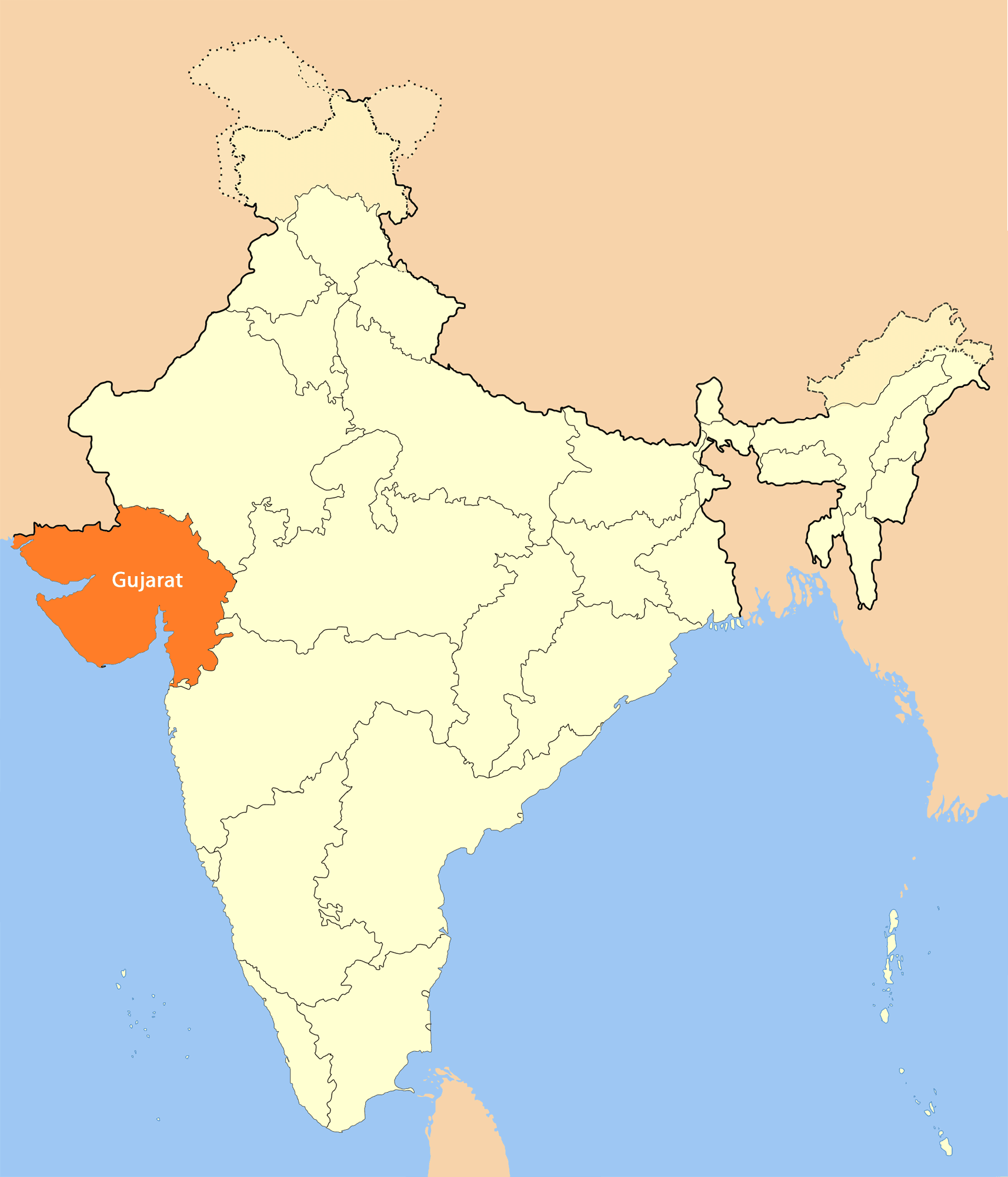 Location Map of Gujarat large map
