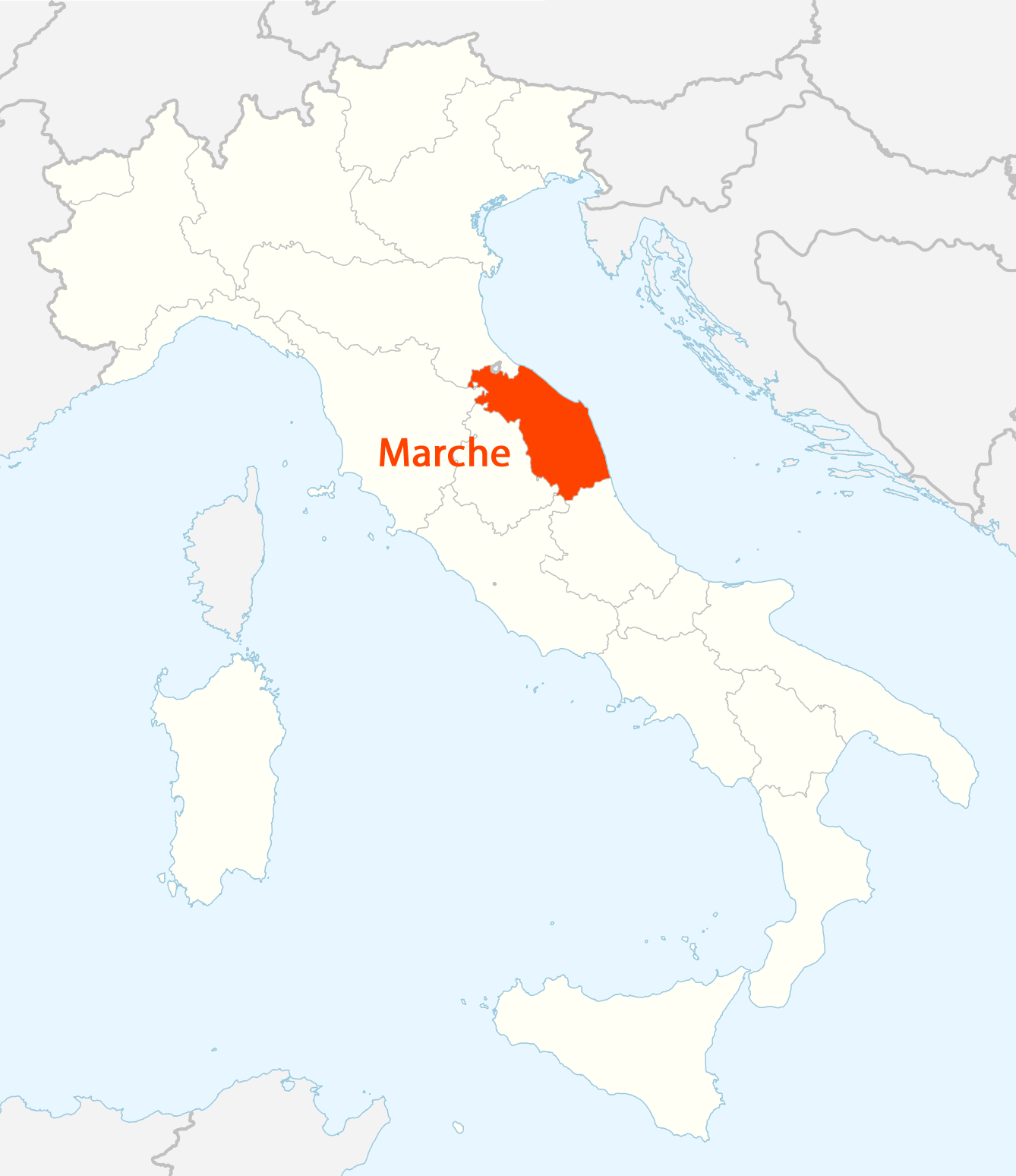 Location of Marche Map large map