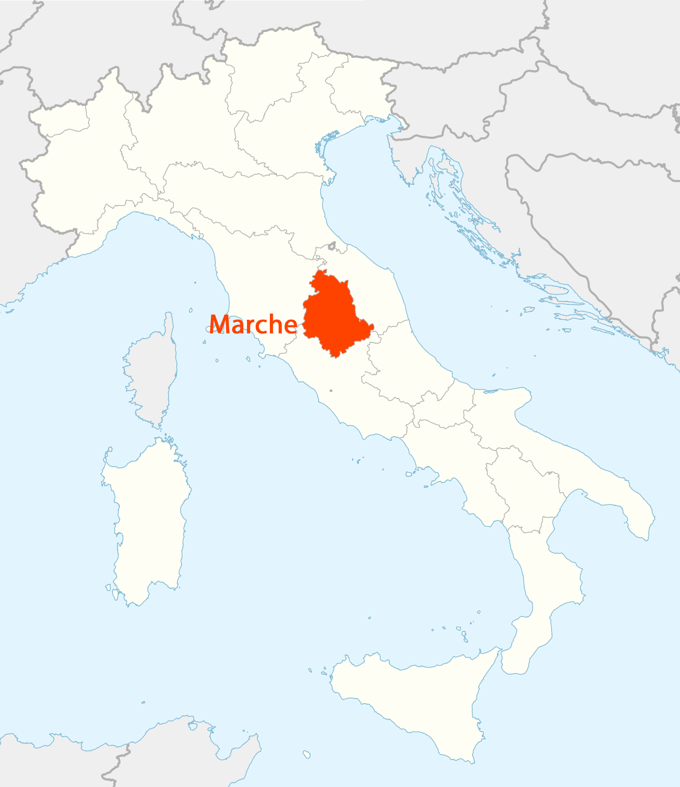 Location of Umbria Map large map