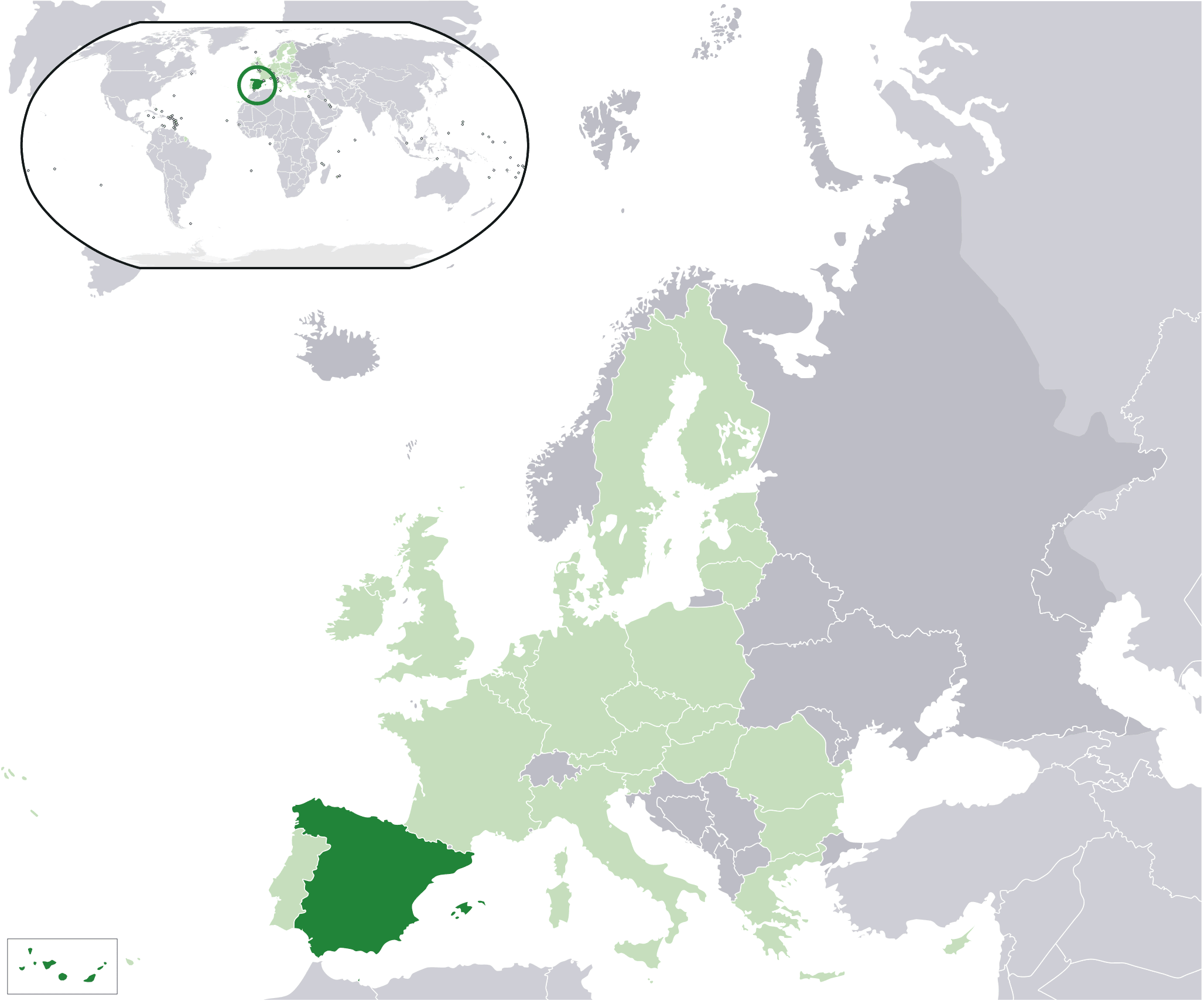 Map Of Spain And Europe.Location Spain Eu Europe Mapsof Net