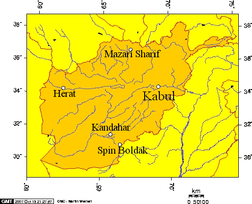 Locations Mentioned In Khirullah Khairkhwa Tribunal large map