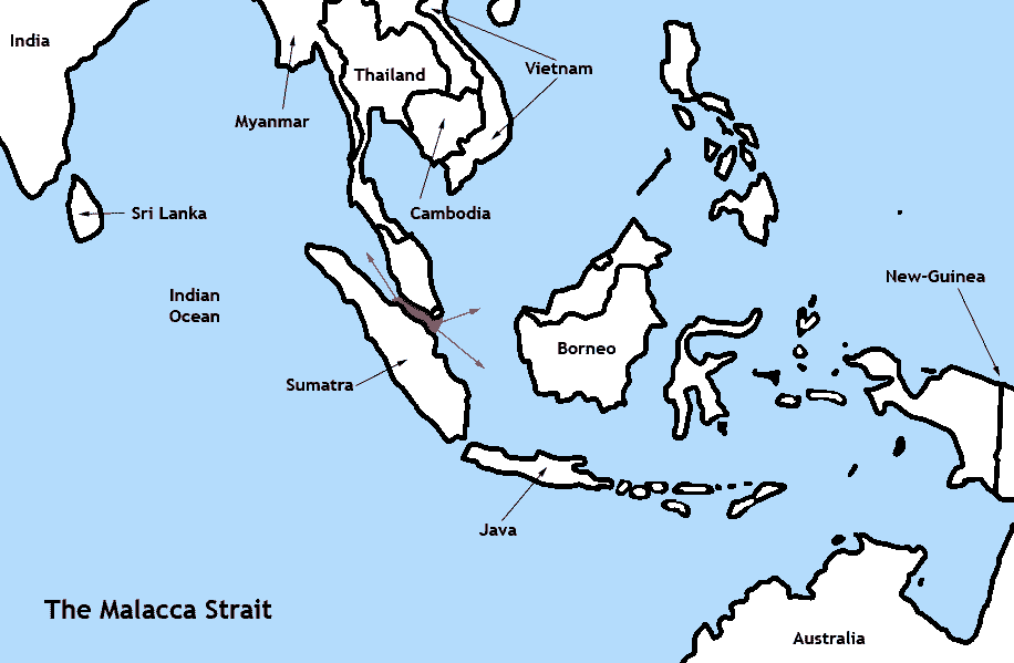 Locatormap Malacca Strait large map