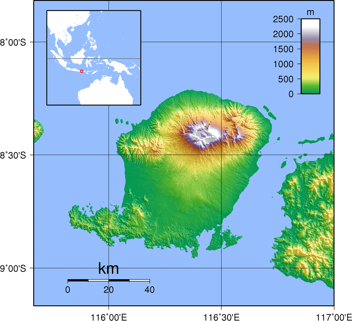 Lombok Topography large map