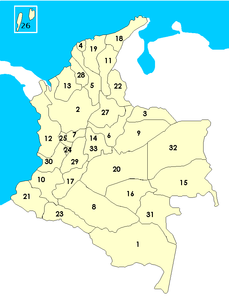 Los Departamentos De Colombia  Numerados large map