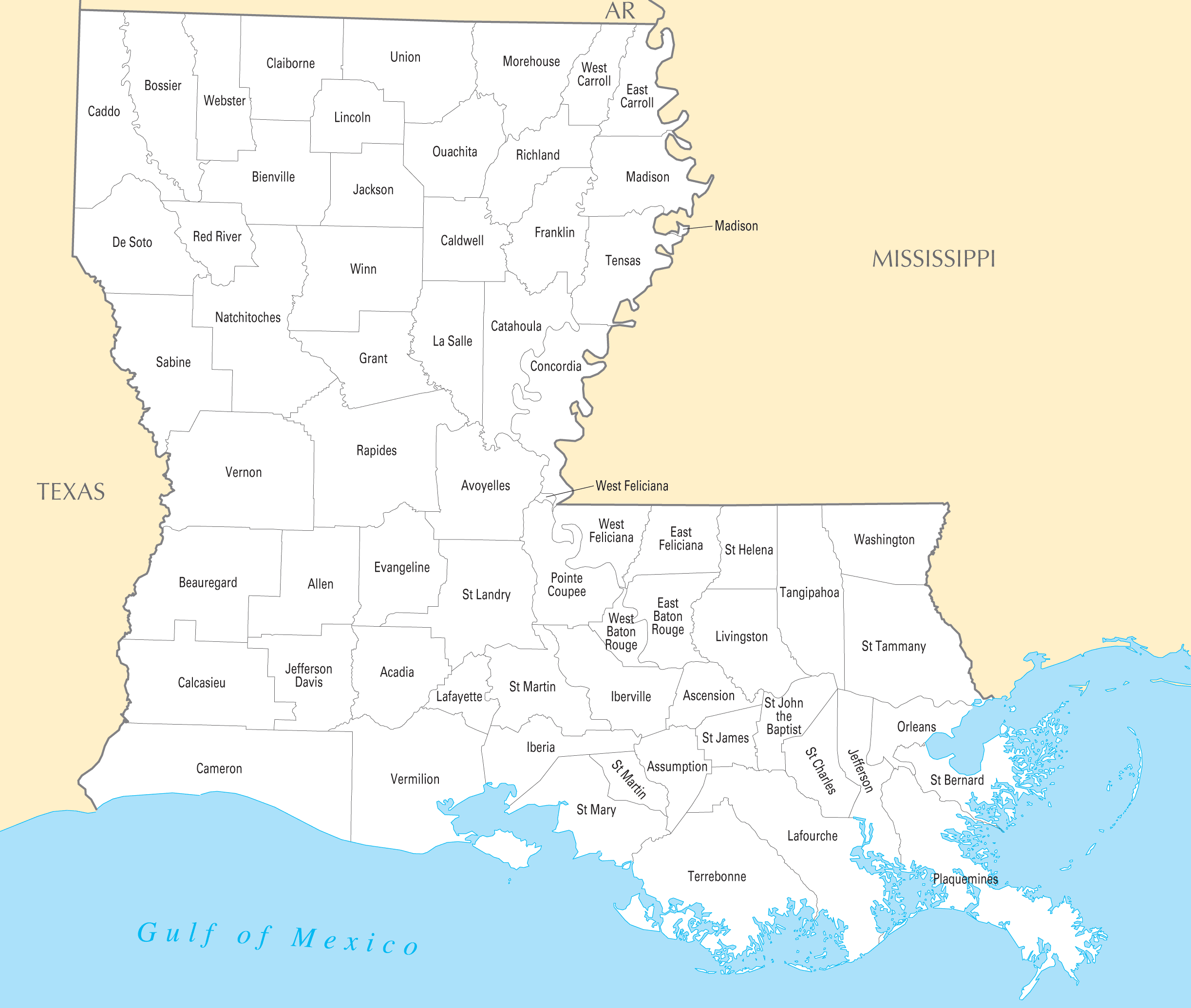Louisiana County Map large map