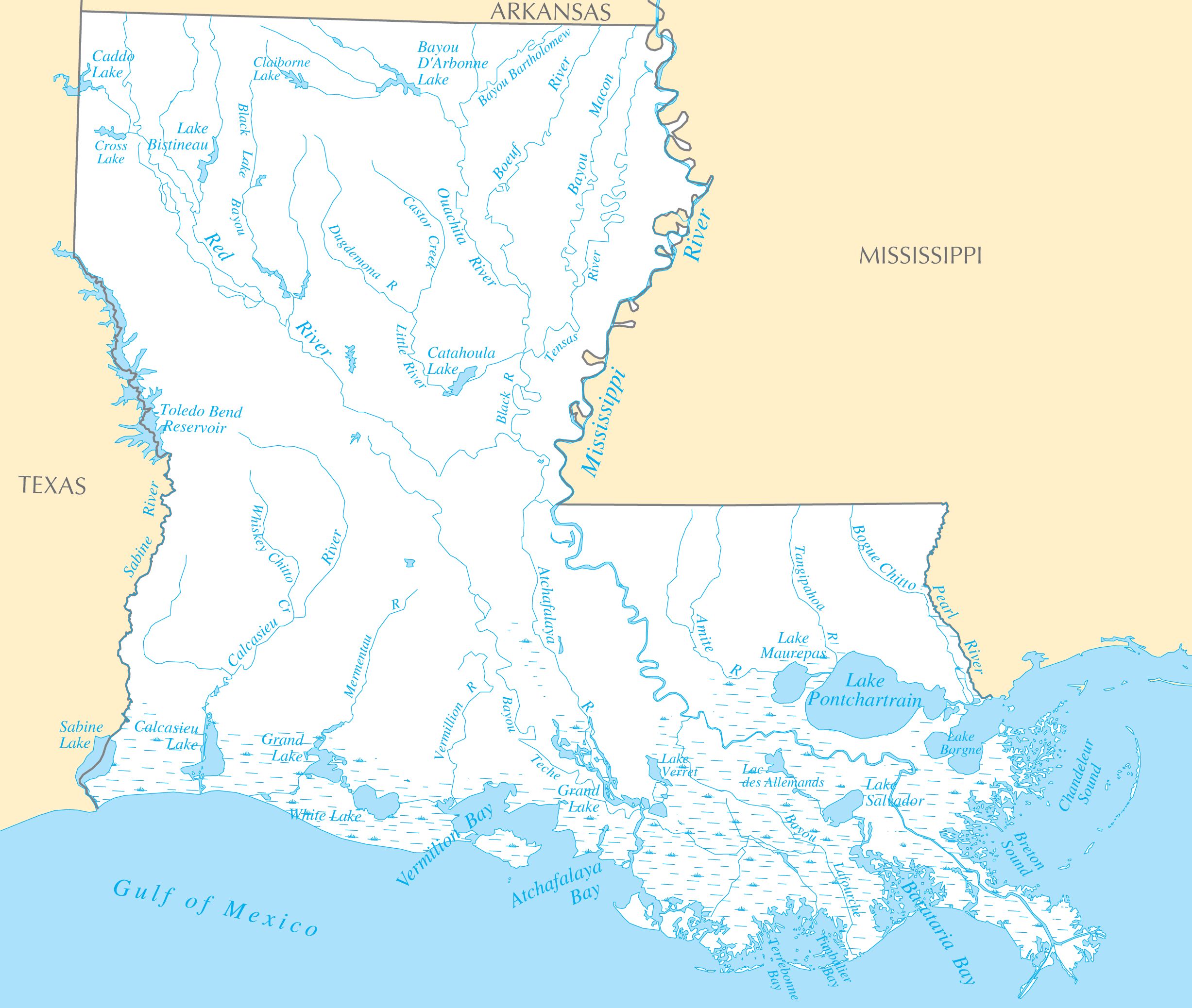 Map Of Louisiana Rivers Louisiana Rivers And Lakes • Mapsof.net